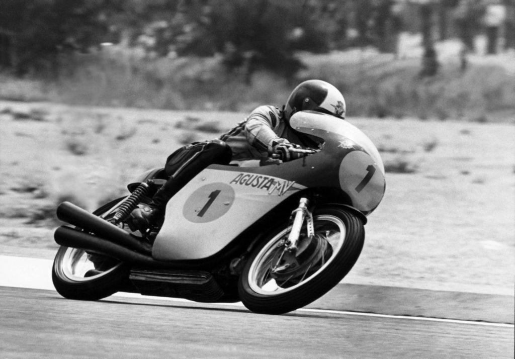 Giacomo Agostini (1) riding a 1966 500cc triple-cylinder MV Agusta Grand Prix racebike. Photo courtesy of MV Agusta.