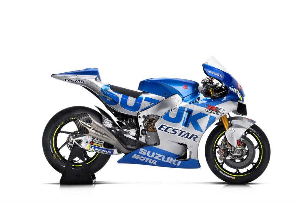 The right side of the 2020 Team Suzuki ECSTAR GSX-RR. Photo courtesy of Team Suzuki Press Office.