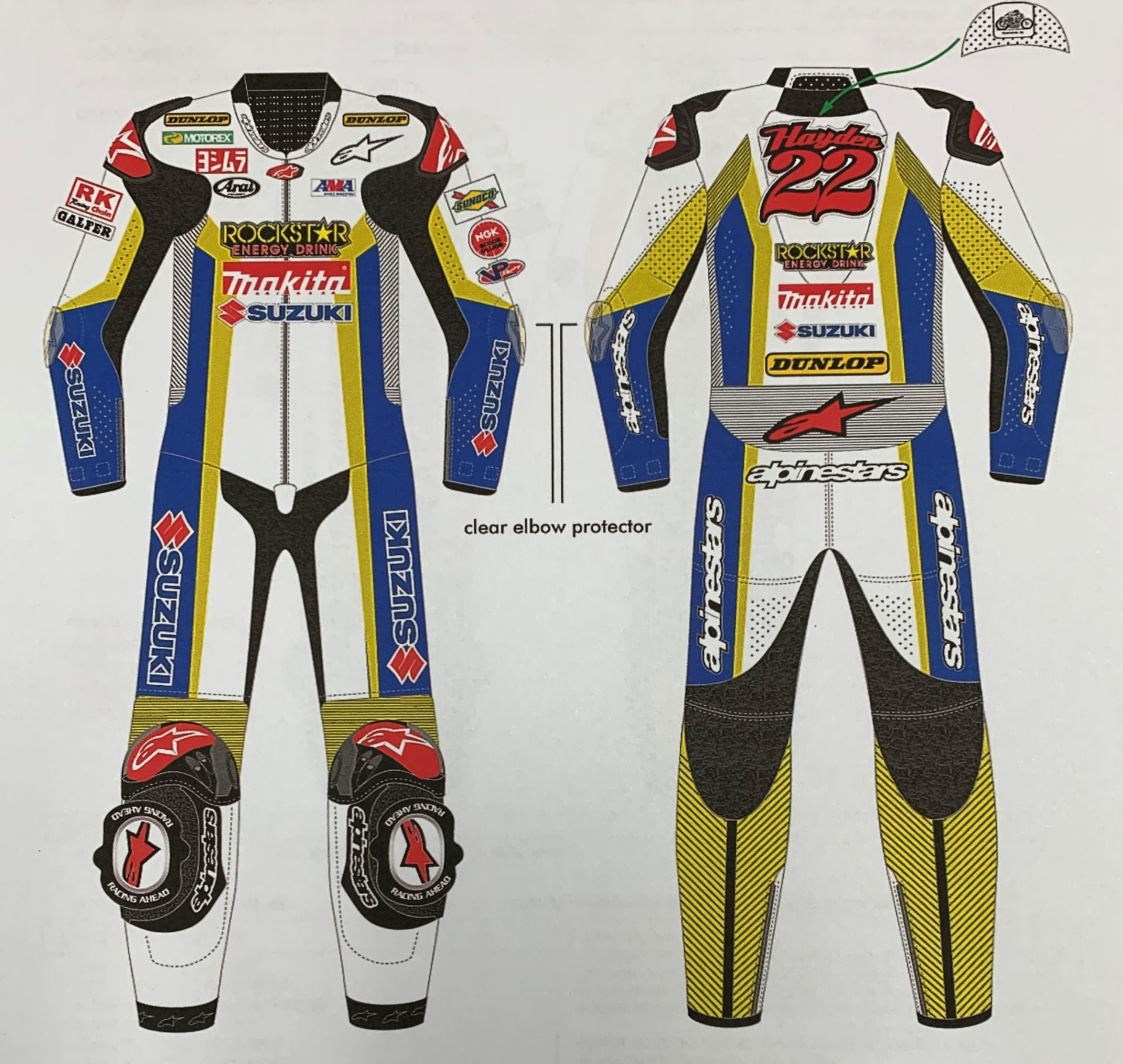 Art work representing the Tommy Hayden leathers that were stolen from Yoshimura Suzuki. Photo courtesy of Yoshimura Racing.