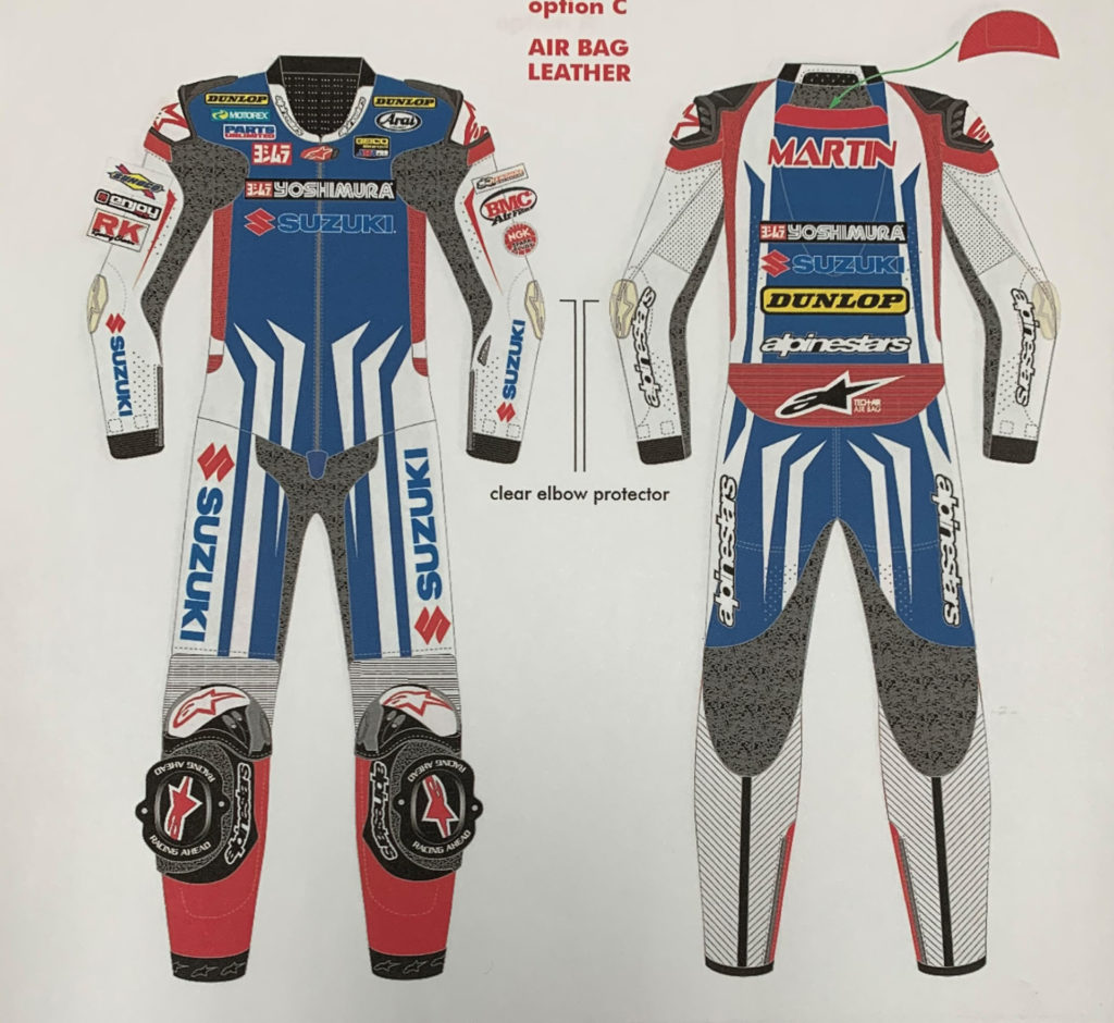 Art work representing the Martin Cardenas leathers that were stolen from Yoshimura Suzuki. Photo courtesy of Yoshimura Racing.