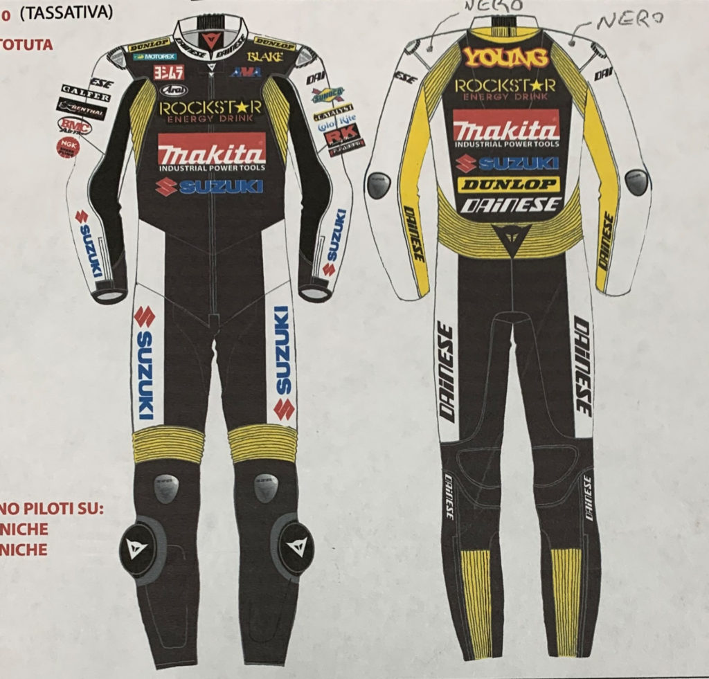 Art work representing the Blake Young leathers that were stolen from Yoshimura Suzuki. Photo courtesy of Yoshimura Racing.