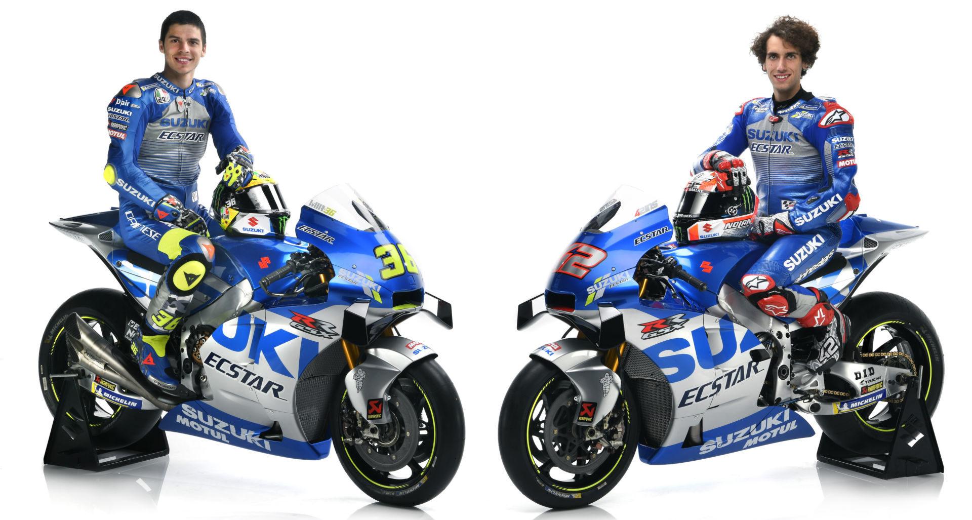 Team Suzuki ECSTAR's Joan Mir (left) and Alex Rins (right) and their GSX-RR racebikes. Photo courtesy of Team Suzuki Press Office.