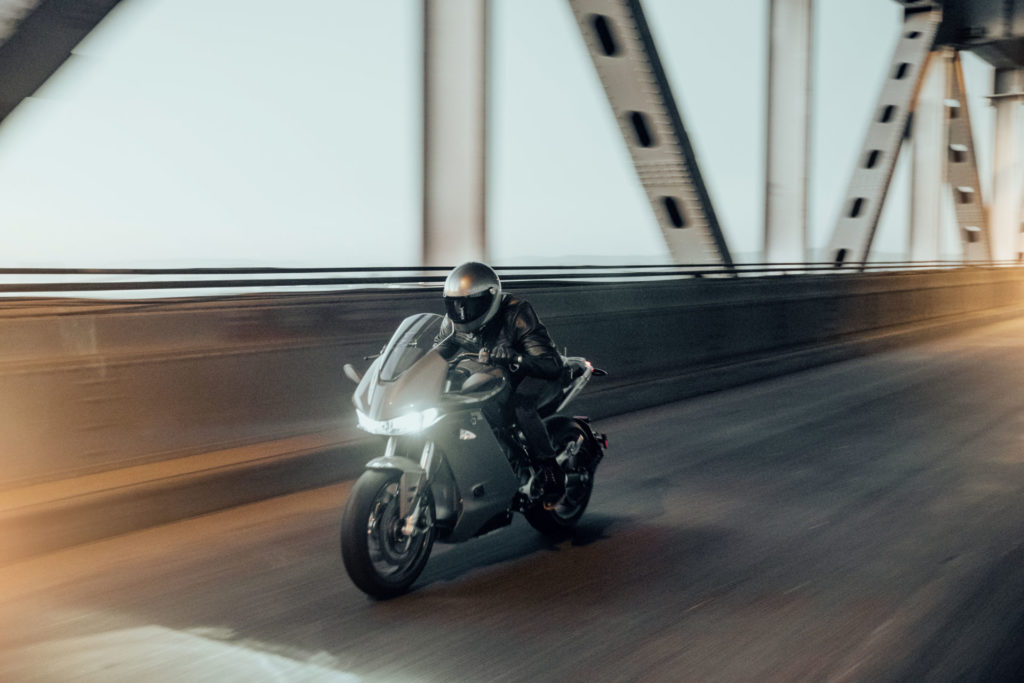 A Zero SR/S electric motorcycle at speed. Photo courtesy of Zero Motorcycles..