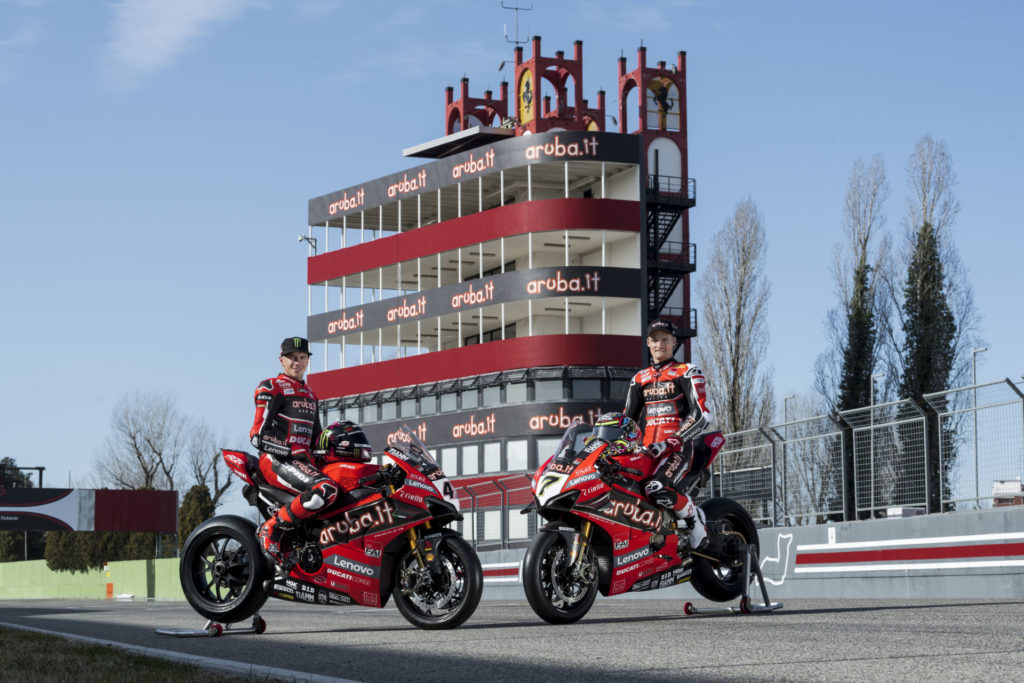 Chaz Davies (right) and Scott Redding (left) in front of the Aruba.it-branded control tower at the Imola Circuit. Photo courtesy of Aruba.it Racing Ducati.