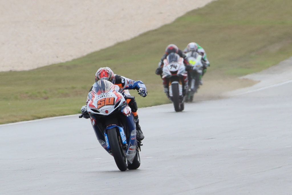 Fong crossing the finish line at Barber Motorsports Park to win the 2019 MotoAmerica Supersport Championship on his M4 ECSTAR Suzuki GSX-R600. Photo by Brian J. Nelson.