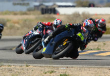David Anthony (25) leads Bradley Ward (757), and Wyatt Farris (19) during The CVMA Shootout, Presented by TrackDaz and SoCal Trackdays at Chuckwalla Valley Raceway. Photo by CaliPhotography.com, courtesy of CVMA.