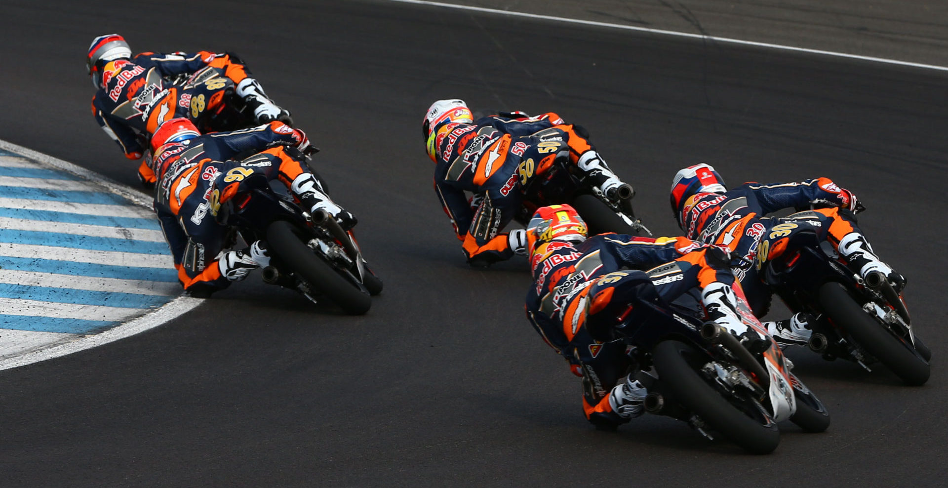 Red Bull MotoGP Rookies at speed. Photo courtesy of Red Bull.