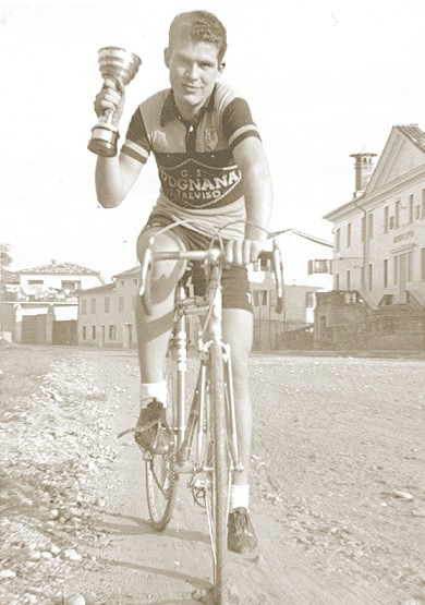 Sidi founder Dino Signori on his racing bicycle in 1955. Photo courtesy of Sidi.