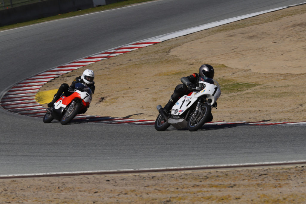 Andrew Mauk (1) and Dave Roper (7) in action at WeatherTech Raceway Laguna Seca. Photo by etechphoto.com, courtesy of AHRMA.