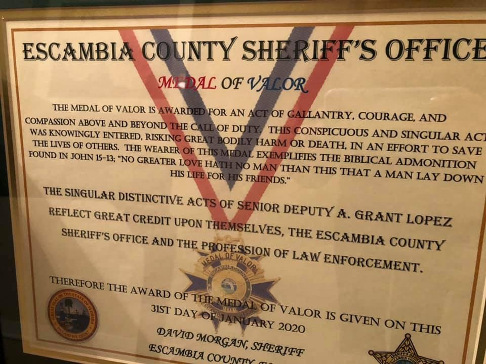 A certificate presented to Grant Lopez along with his Medal of Valor. Photo courtesy of Escambia County Sheriff's Office.