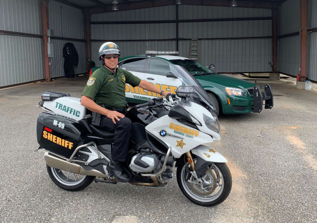 Senior Deputy Grant Lopez on his 2019 BMW R 1250 RT-P on the job with Escambia County Sheriff's Office. Photo courtesy of Grant Lopez.