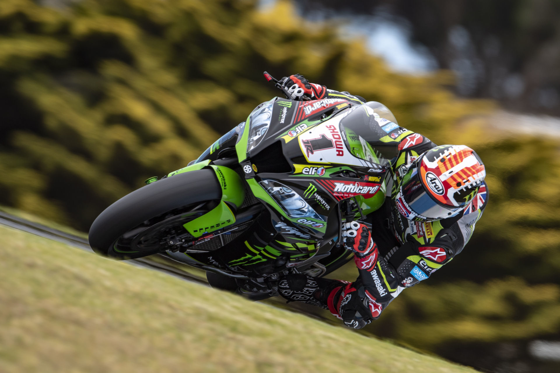 Defending Superbike World Champion Jonathan Rea (1) in action at Phillip Island in 2019. Photo courtesy of Kawasaki.