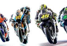 Valentino Rossi (46), Franco Morbidelli (21), Luca Marini (10), and Marco Bezzecchi (72). Image courtesy of Dainese.