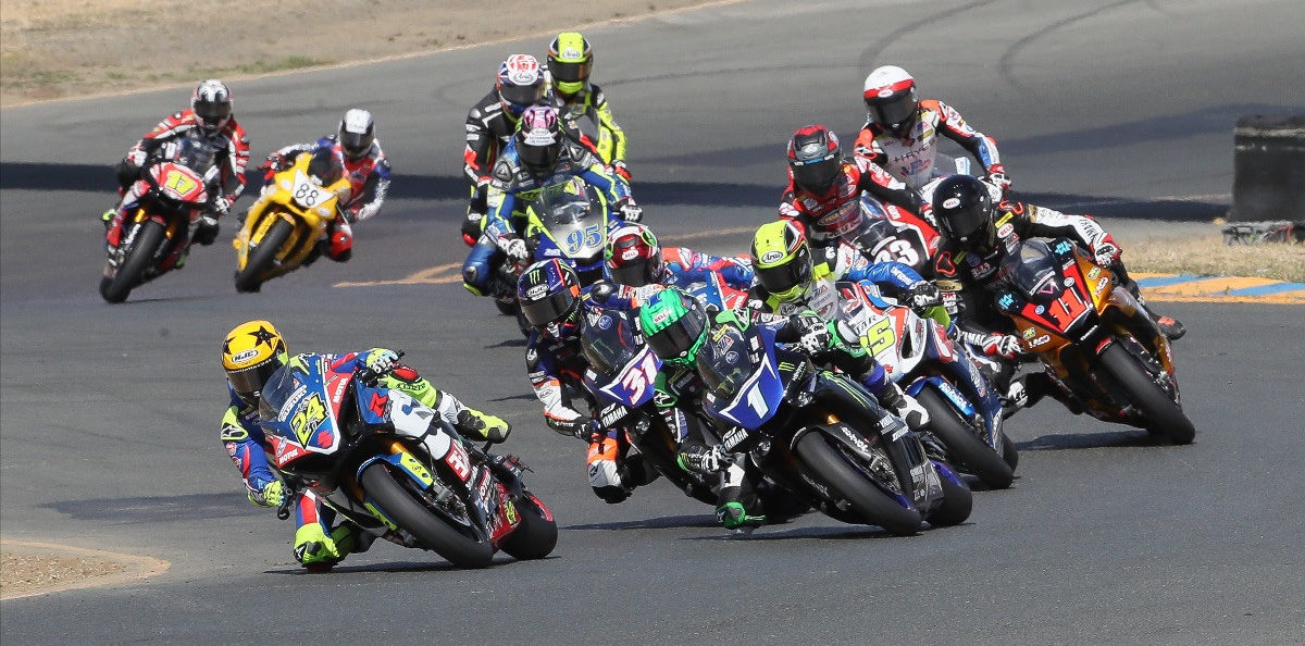 The start of a professional MotoAmerica Superbike race at Sonoma Raceway in 2019. Photo by Brian J. Nelson.