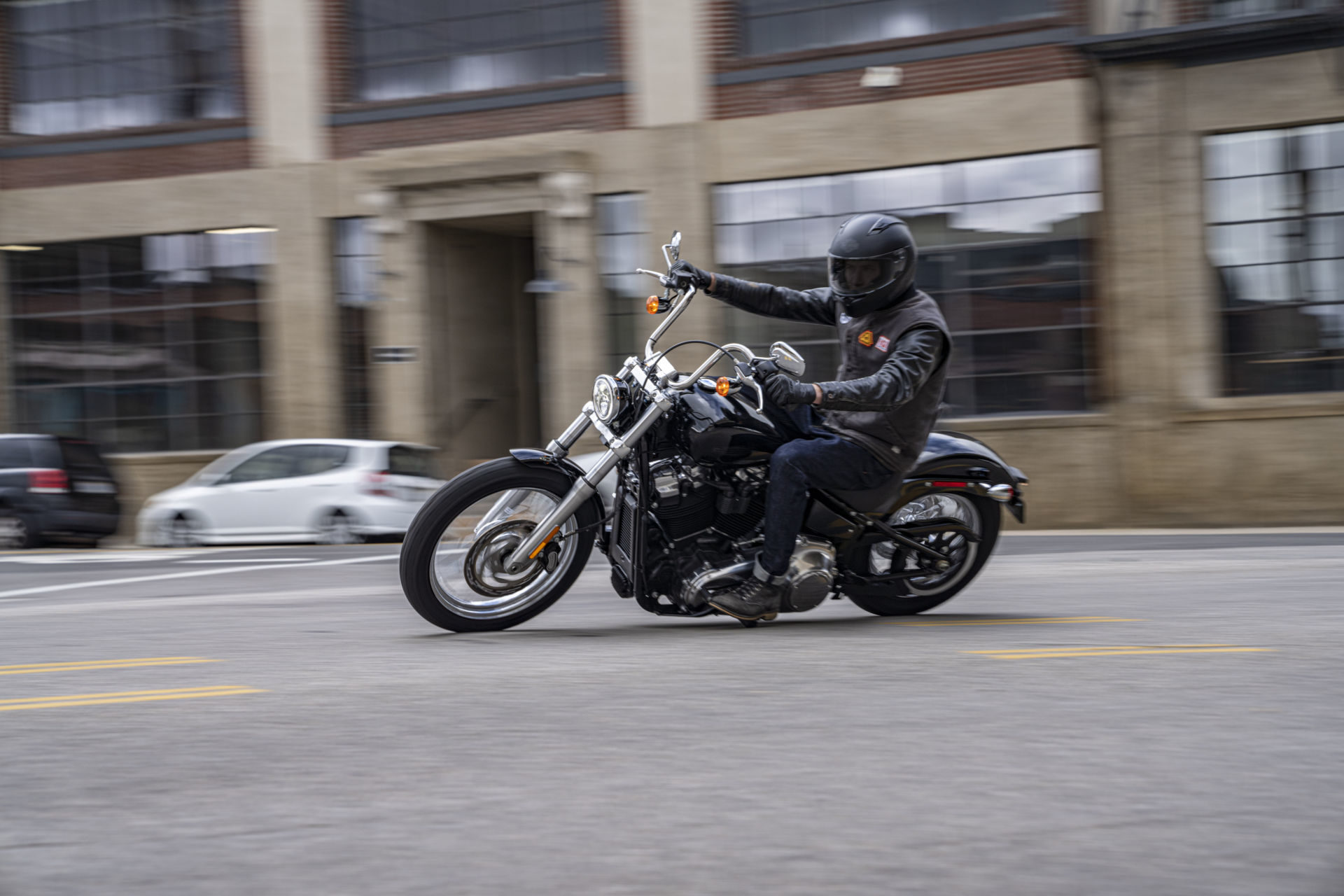 A 2020-model Harley-Davidson Softail Standard at speed. Photo courtesy of Harley-Davidson.