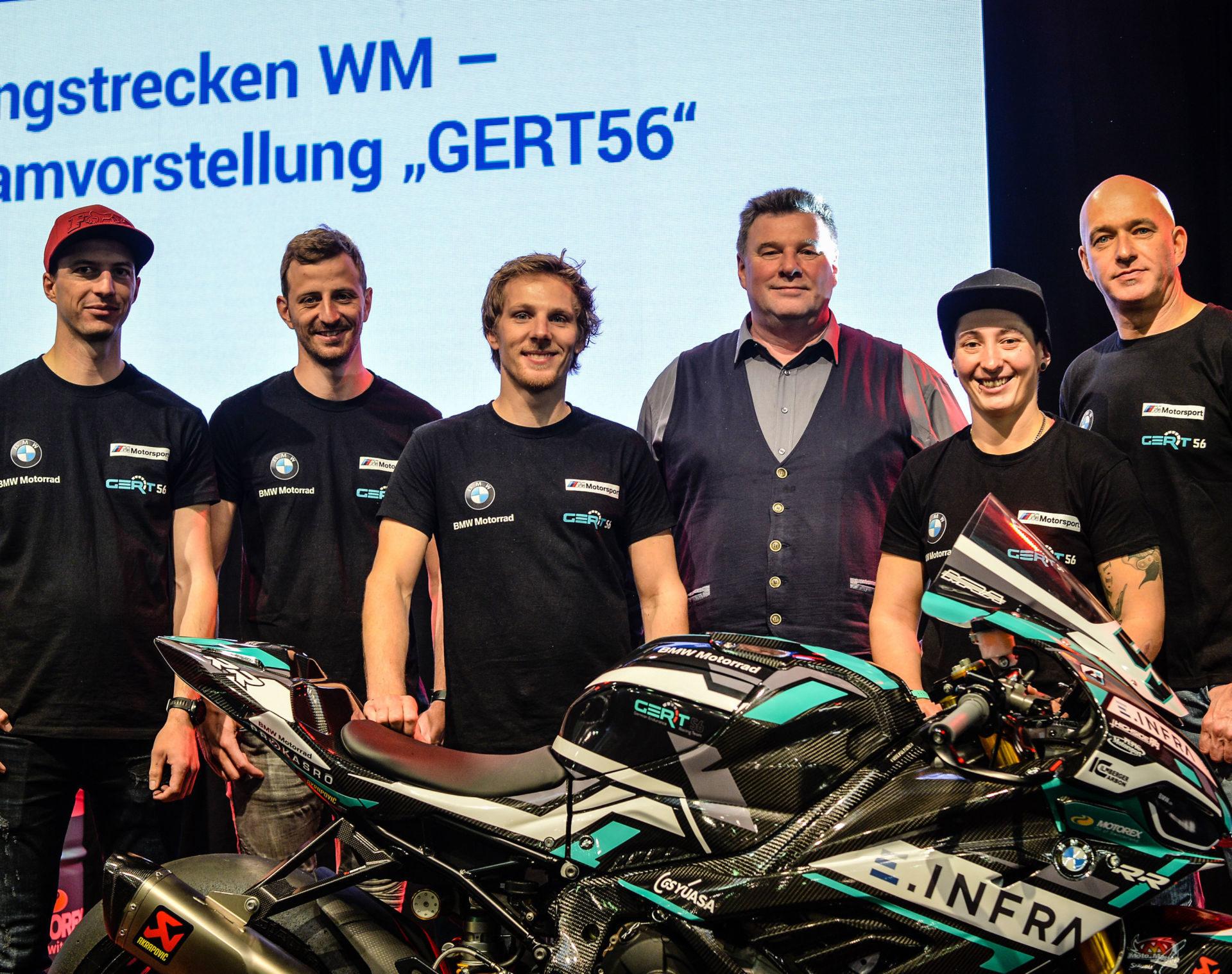 (From right): Ronny Schlieder, Lucy Glöckner, Karsten Wolf, Pepijn Bijsterbosch, Stefan Kerschbaumer, and Toni Finsterbusch. Photo courtesy of Wunderlich Motorsport.
