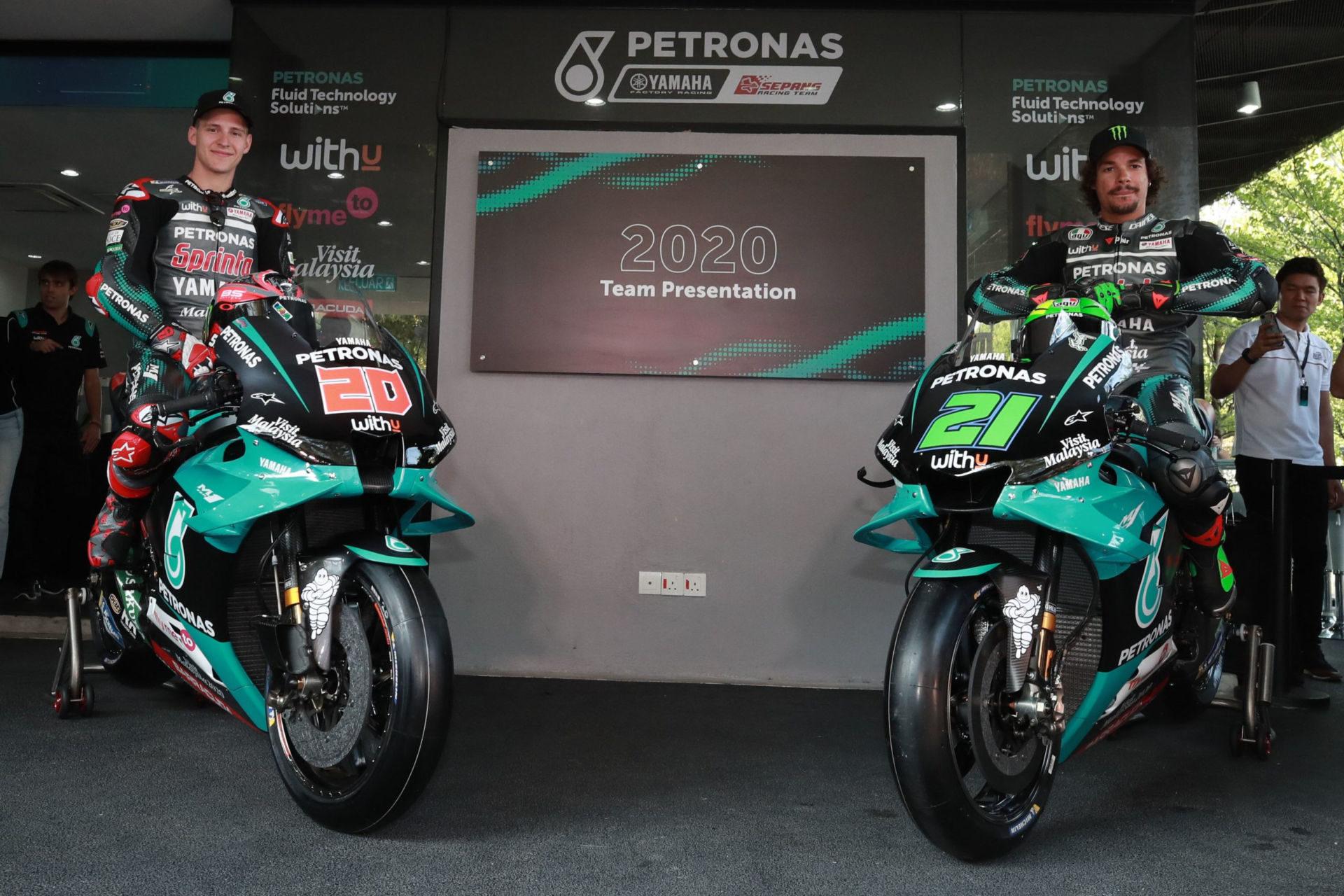 PETRONAS Yamaha Sepang Racing Team's Fabio Quartararo (left) and Franco Morbidelli (right). Photo courtesy PETRONAS Yamaha SRT.