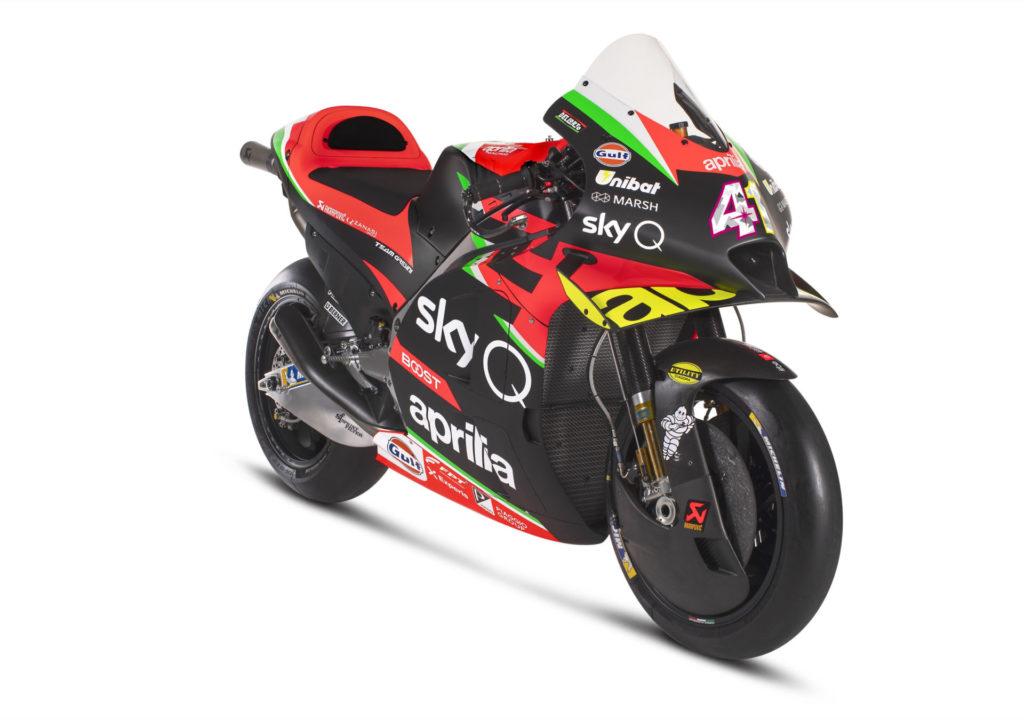 Aprilia's 2020-spec RS-GP MotoGP racebike. Photo courtesy of Aprilia.