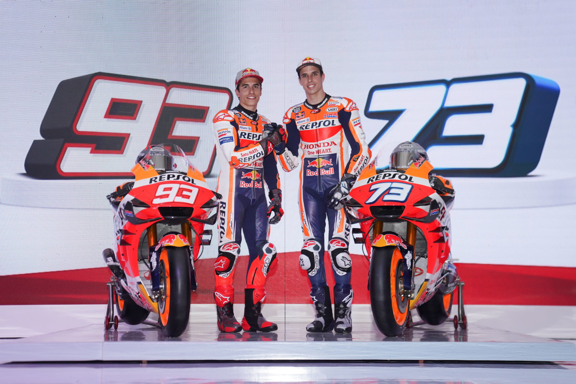 Brothers Marc Marquez (left) and Alex Marquez (right) at the official Repsol Honda MotoGP team introduction in Indonesia. Photo courtesy of Honda Racing Corporation (HRC).