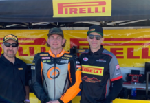 Pirelli Road Race Manage Oscar Solis (left), Moto Station's Kory Cowan (center), and CT RACING owner Corey Neuer (right). Photo courtesy of CT Racing.