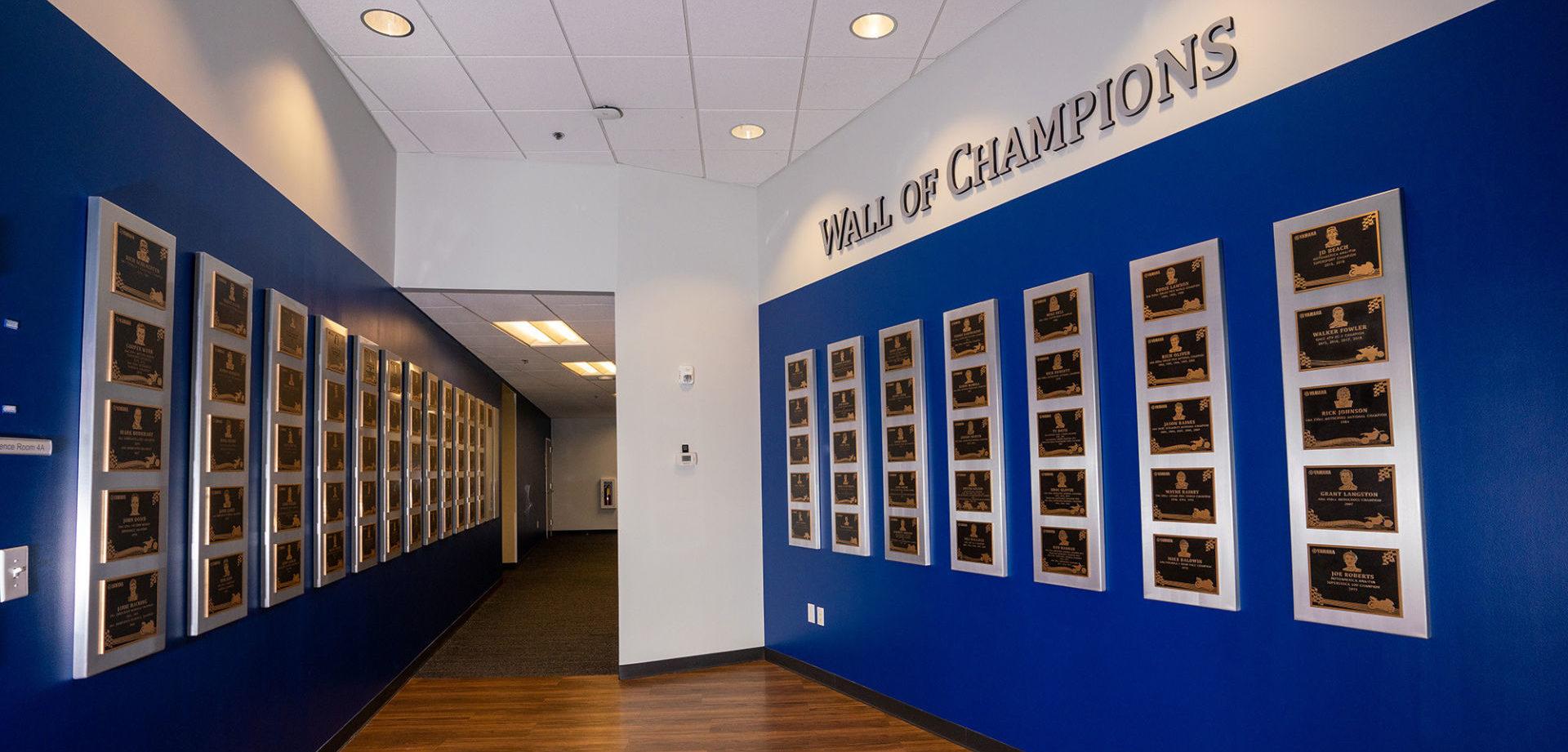 The relocated Wall of Champions at Yamaha's Marietta, Georgia facility. Photo courtesy of Yamaha Motor Corp., U.S.A.
