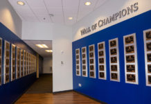 The relocated Wall of Champions at Yamaha's Marietta, Georgia facility. Photo courtesy of Yamaha Motor Corp., U.S.A.