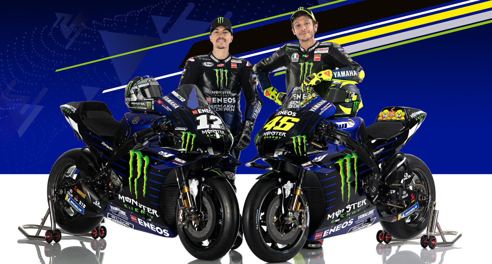 Monster Energy Yamaha riders Maverick Vinales (left) and Valentino Rossi (right) with their YZR-M1 racebikes. Photo courtesy of Monster Energy Yamaha.