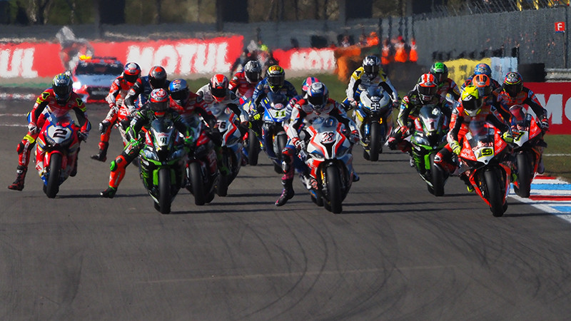 The start of a World Superbike race at Assen in 2019. Photo courtesy of Dorna.