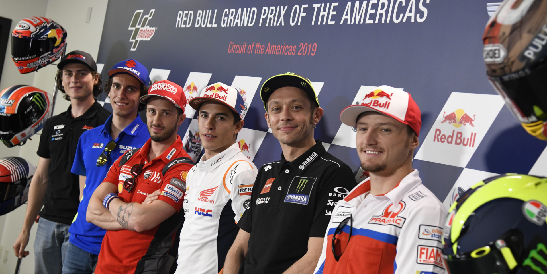 World Championship racers (from right) Jack Miller, Valentino Rossi, Marc Marquez, Andrea Dovizioso, Alex Rins, and Joe Roberts during the pre-event press conference at Circuit of The Americas in 2019. Photo courtesy of Dorna.