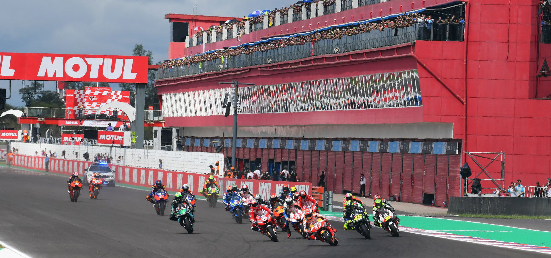 The start of the MotoGP race in Argentina in 2019. Photo courtesy of Michelin.