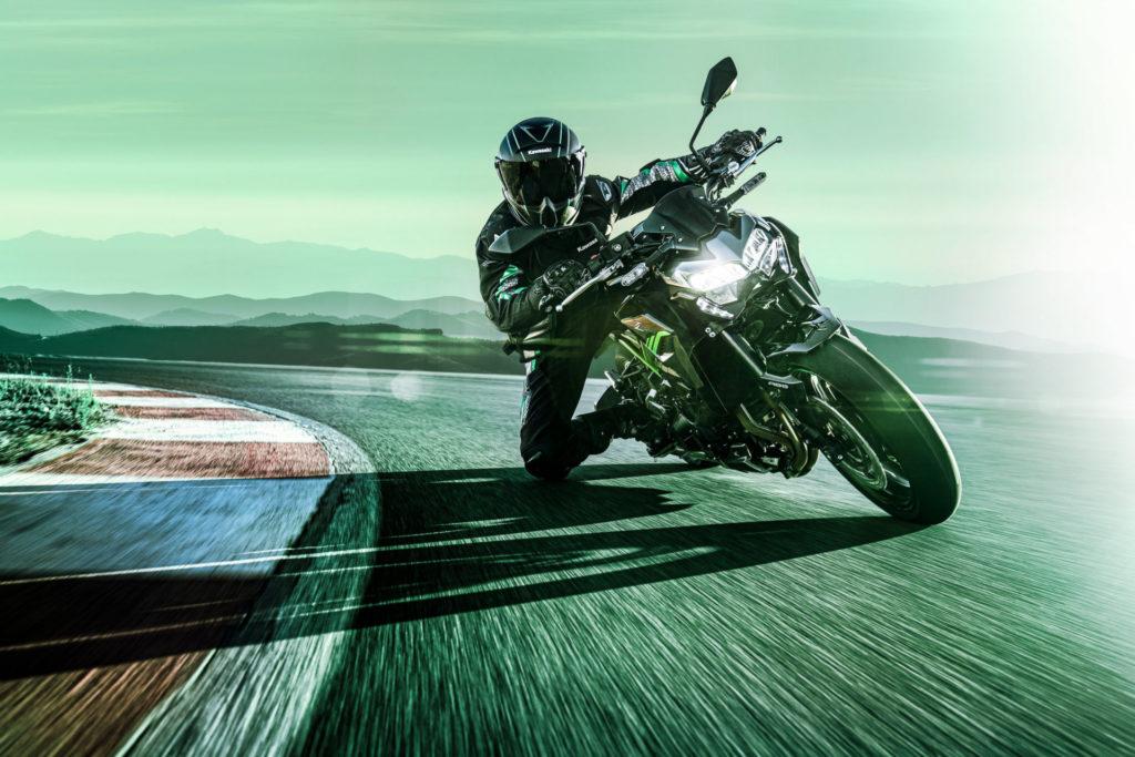 A 2020-model Kawasaki Z900 at speed. Photo courtesy of Kawasaki Motors Corp., U.S.A.