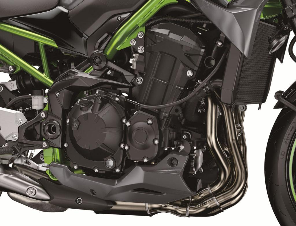 The engine of a 2020-model Kawasaki Z900. Photo courtesy of Kawasaki Motors Corp., U.S.A.