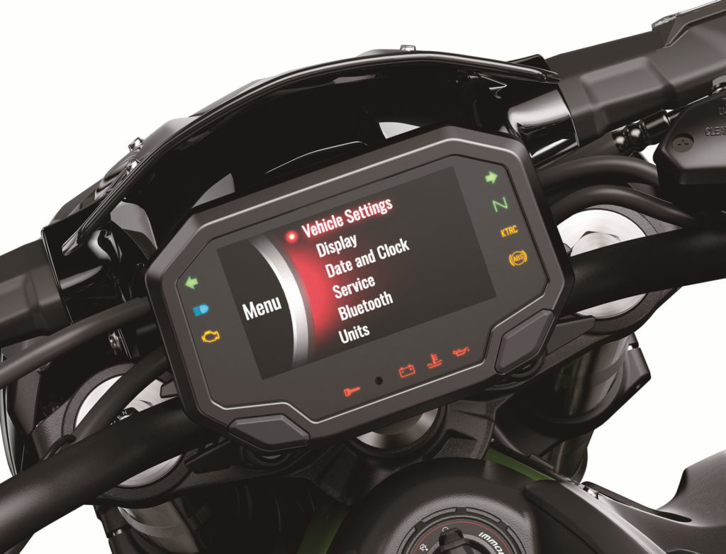 The dashboard on a 2020-model Kawasaki Z900. Photo courtesy of Kawasaki Motors Corp., U.S.A.