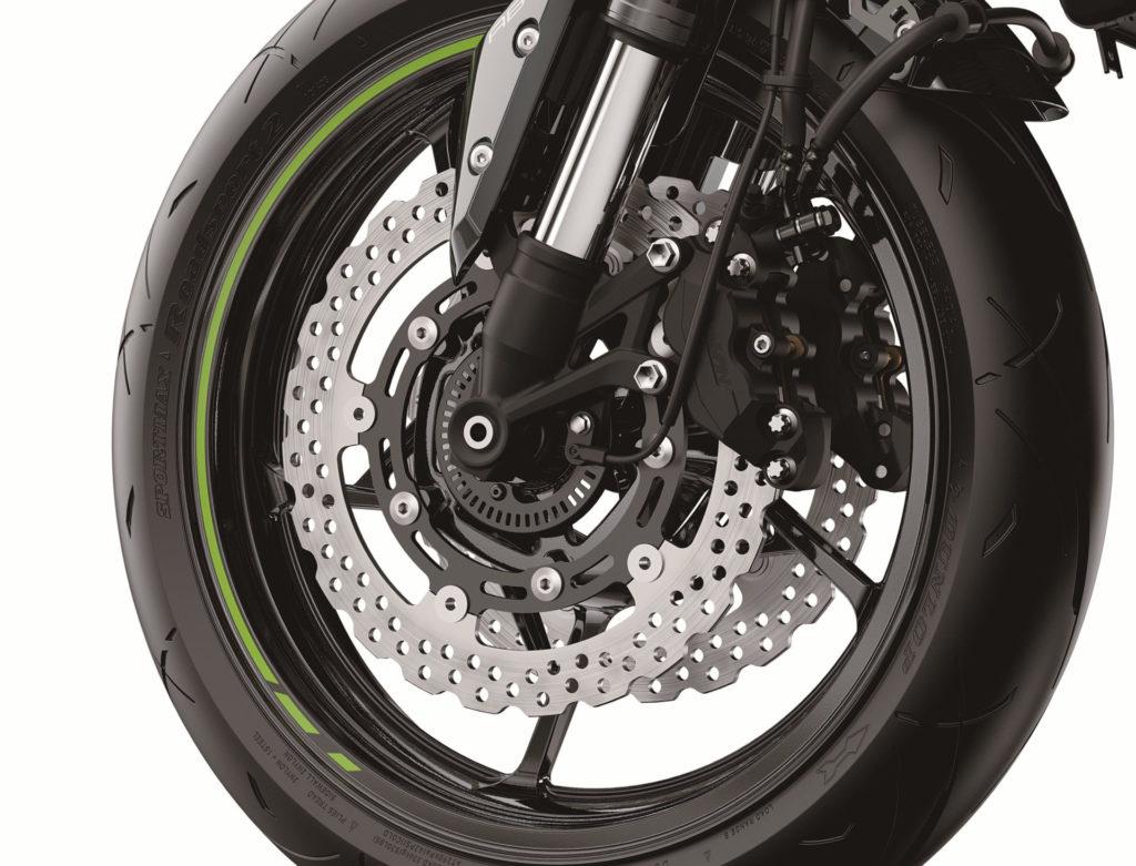 The front brakes on a 2020-model Kawasaki Z900. Photo courtesy of Kawasaki Motors Corp., U.S.A.