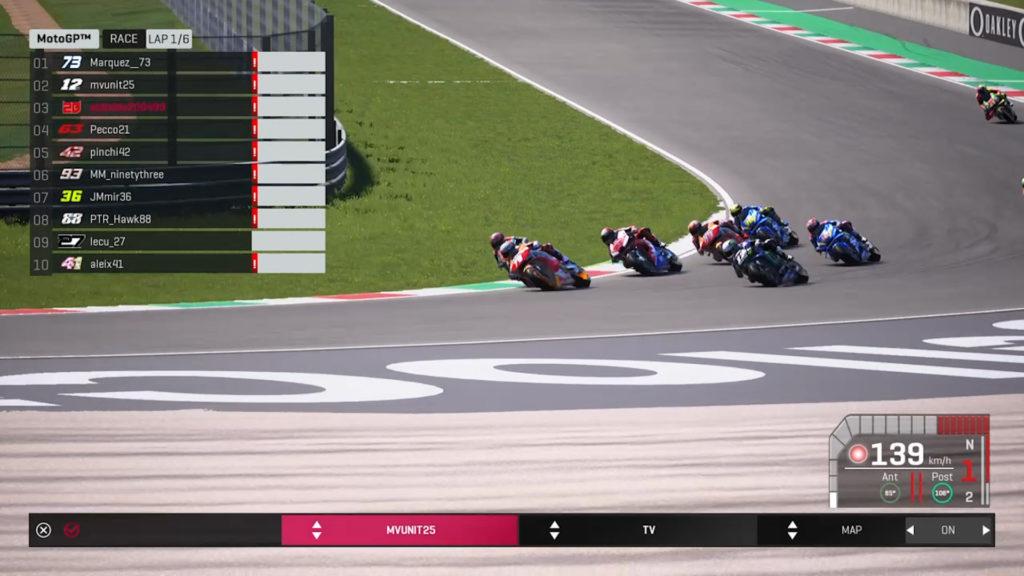 The start of the #StayAtHomeGP virtual MotoGP race. Image courtesy of Dorna/www.motogp.com.