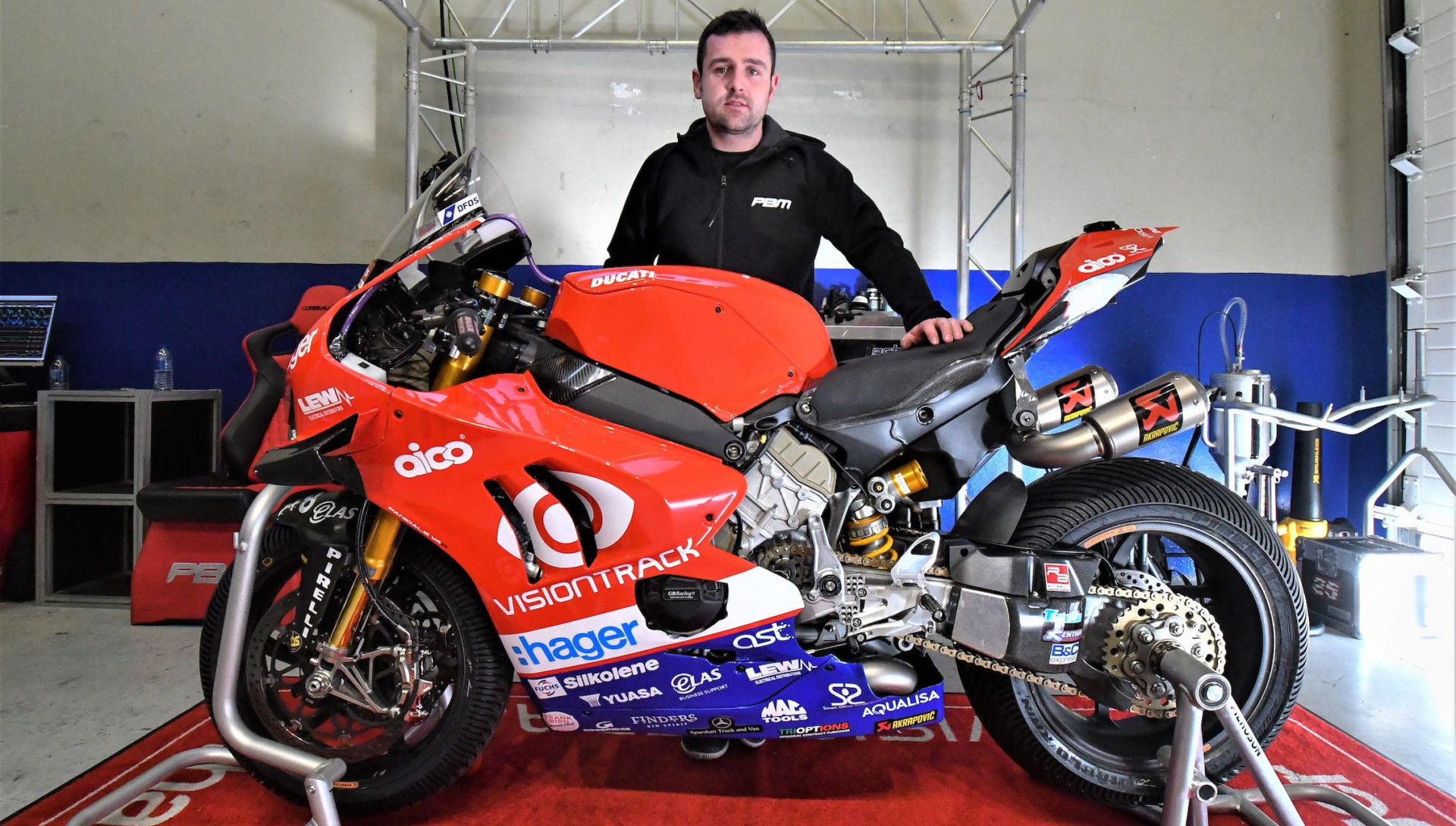 Michael Dunlop and his new VisionTrack Ducati Panigale V4 R. Photo courtesy of Paul Bird Motorsport.