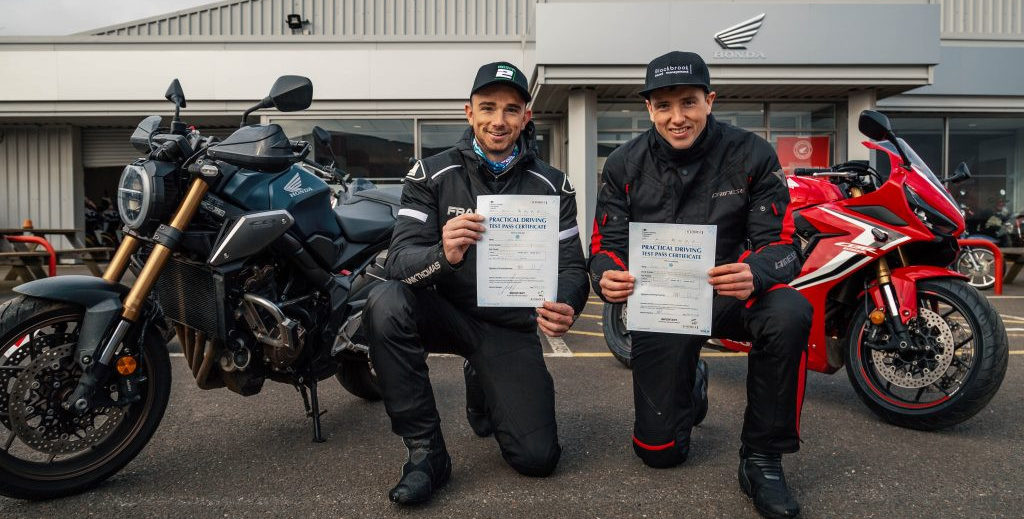 Honda UK British Superbike racers Glenn Irwin (left) and Andrew Irwin (right) with their new motorcycle road licenses. Photo courtesy of HondHonda UK British Superbike racers Glenn Irwin (left) ad Andrew Irwin (right) with their new motorcycle road licenses. Photo courtesy of Honda UK Racing Press Office.UK Racing Press Office.