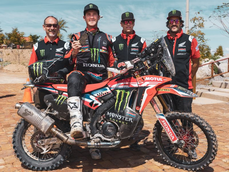 Ricky Brabec (second from left) and his team, after winning the Sonora Rally. Photo courtesy of Honda Racing Corporation.