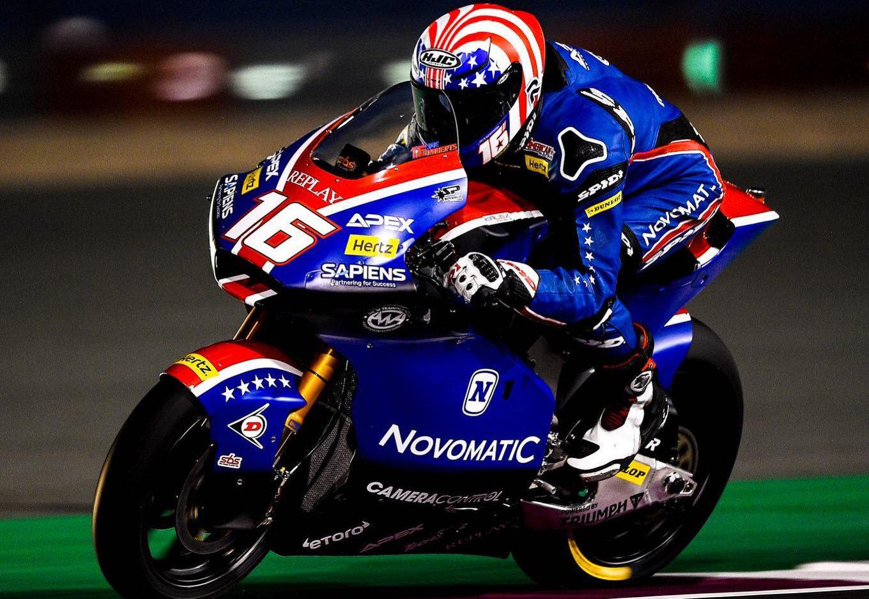 American Joe Roberts (16) in action at Losail International Circuit. Photo courtesy of American Racing Team.