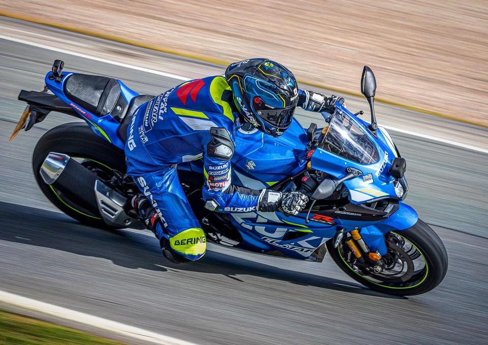 Sylvain Guintoli on his 2020-model Suzuki GSX-R1000R streetbike at a track day. Photo courtesy of Sylvain Guintoli.