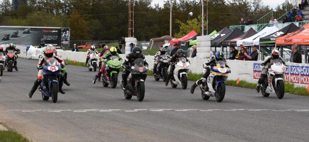A Canadian Amateur Lightweight Sport Bike race start at Shannonville Motorsport Park. Photo courtesy of CSBK/PMP.