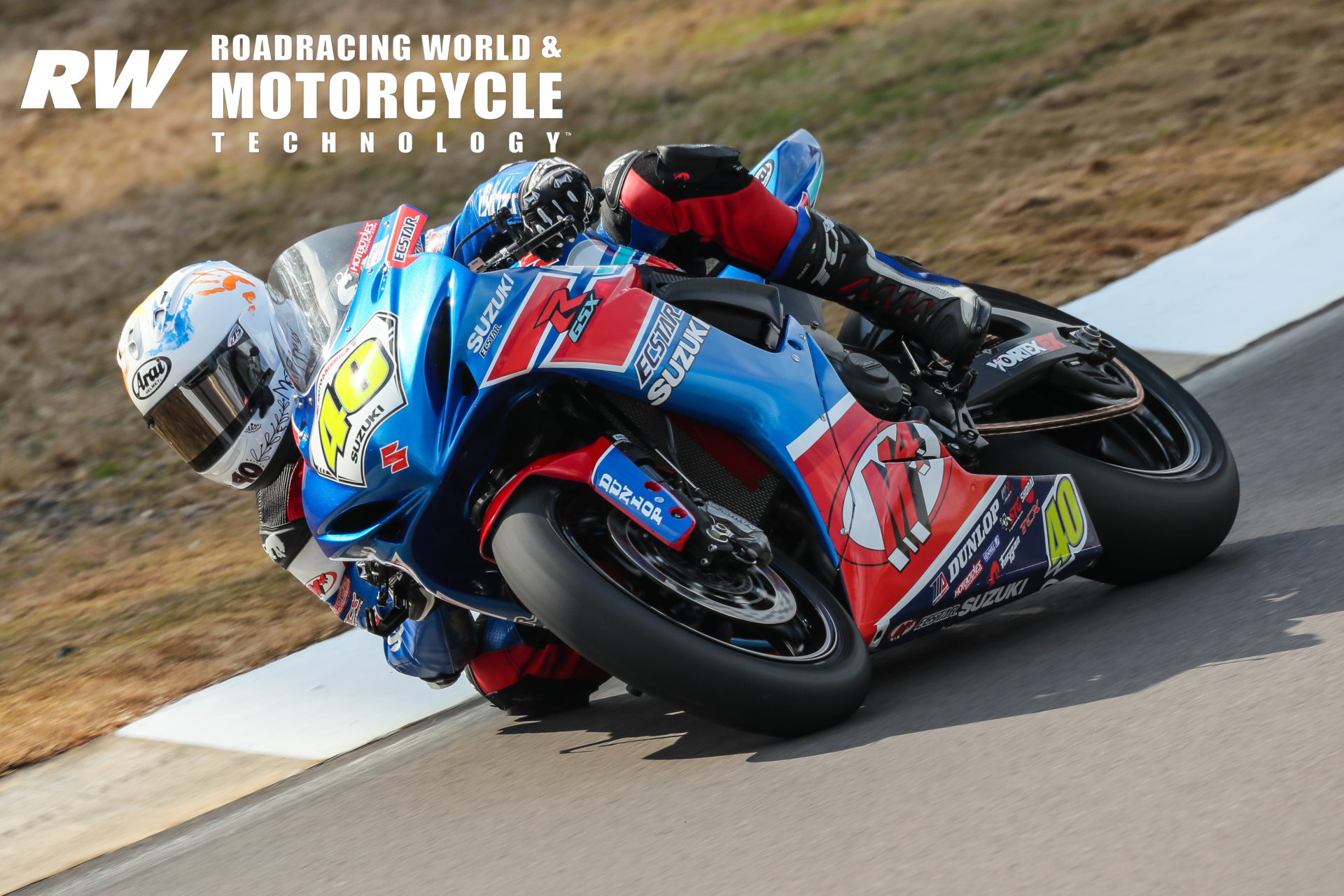 Sean Dylan Kelly (40) at speed during the 2020 MotoAmerica pre-season test at Barber Motorsports Park. Photo by Brian J. Nelson.