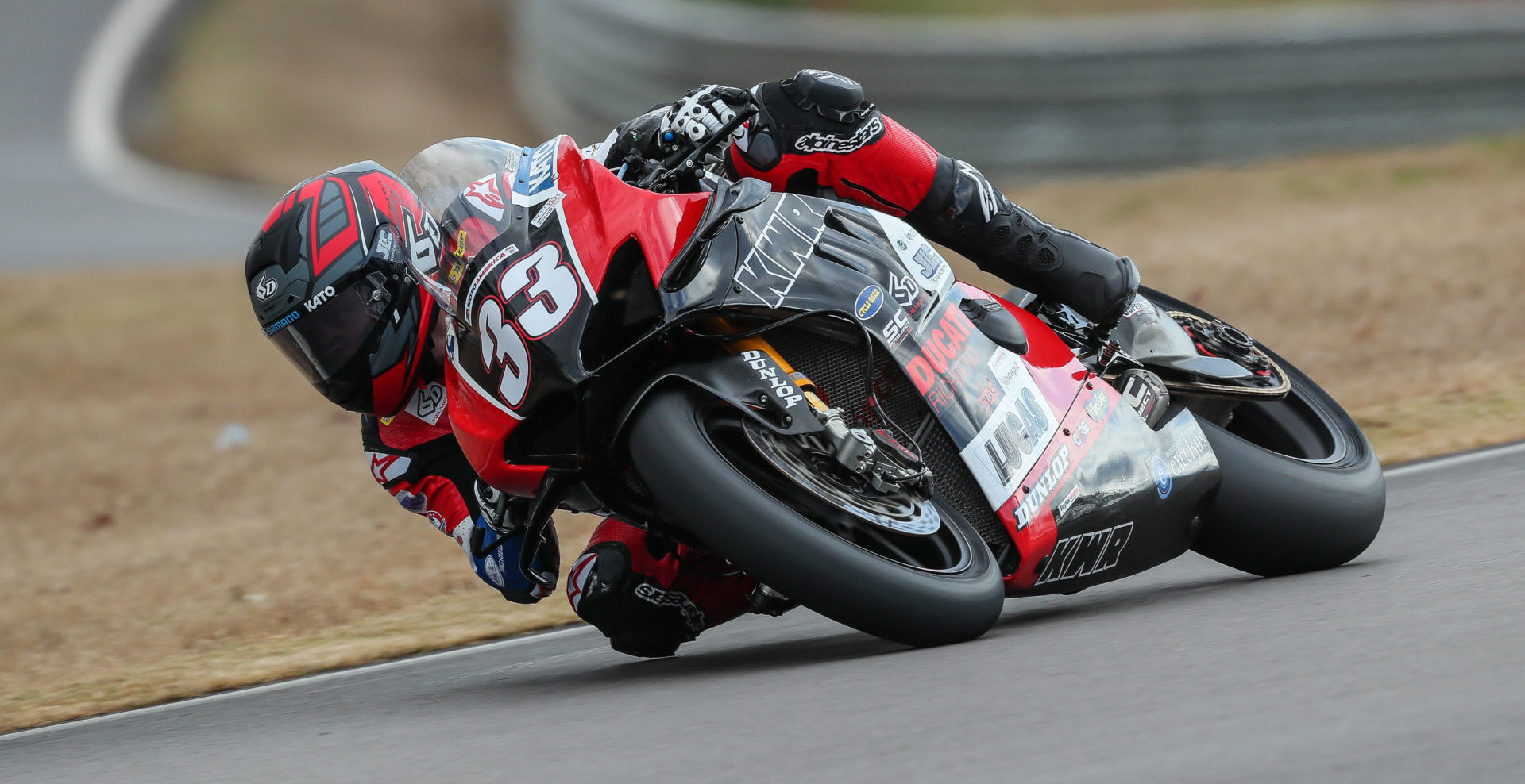 Kyle Wyman (33) on his KWR Ducati Panigale V4 R Superbike during the MotoAmerica pre-season test at Barber Motorsports Park. Photo by Brian J. Nelson, courtesy of KWR.