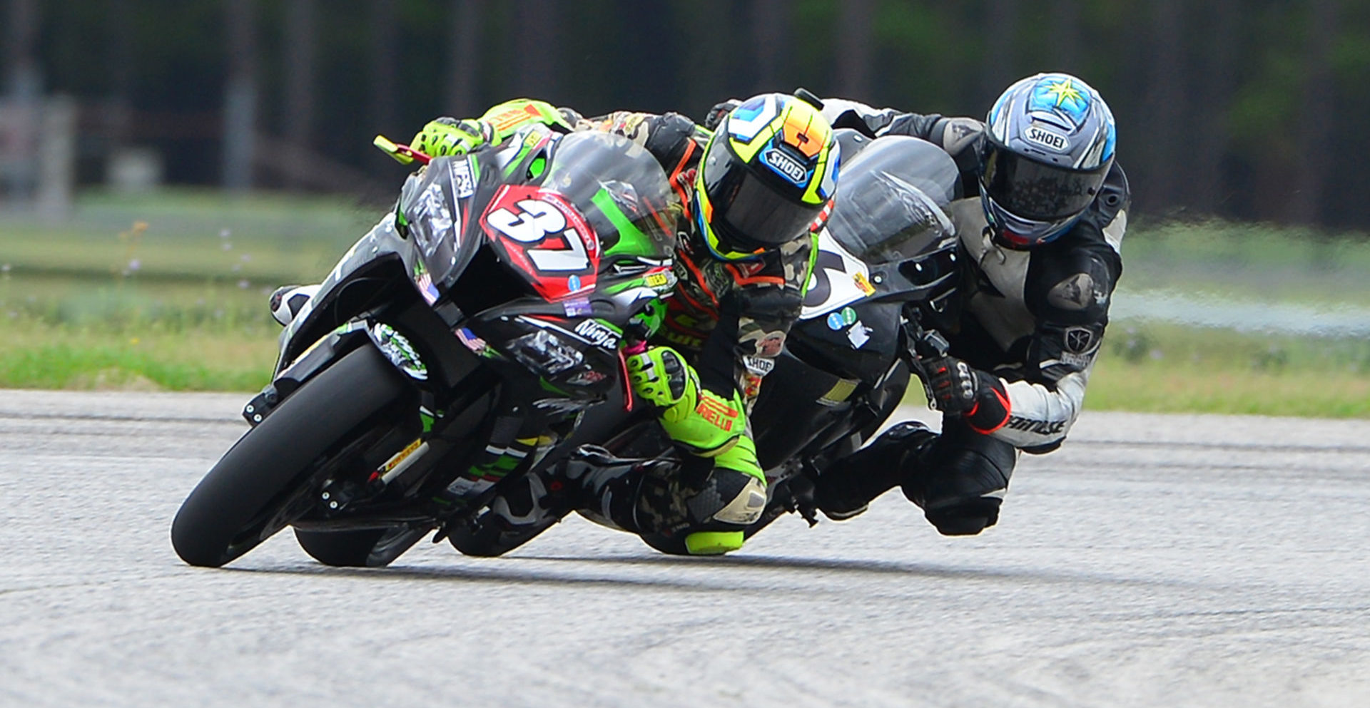 Stefano Mesa (37) leading Vasiliy Zhulin (16) during a CCS race event at Carolina Motorsports Park in 2019. Photo by Lisa Theobald, courtesy of ASRA/CCS.