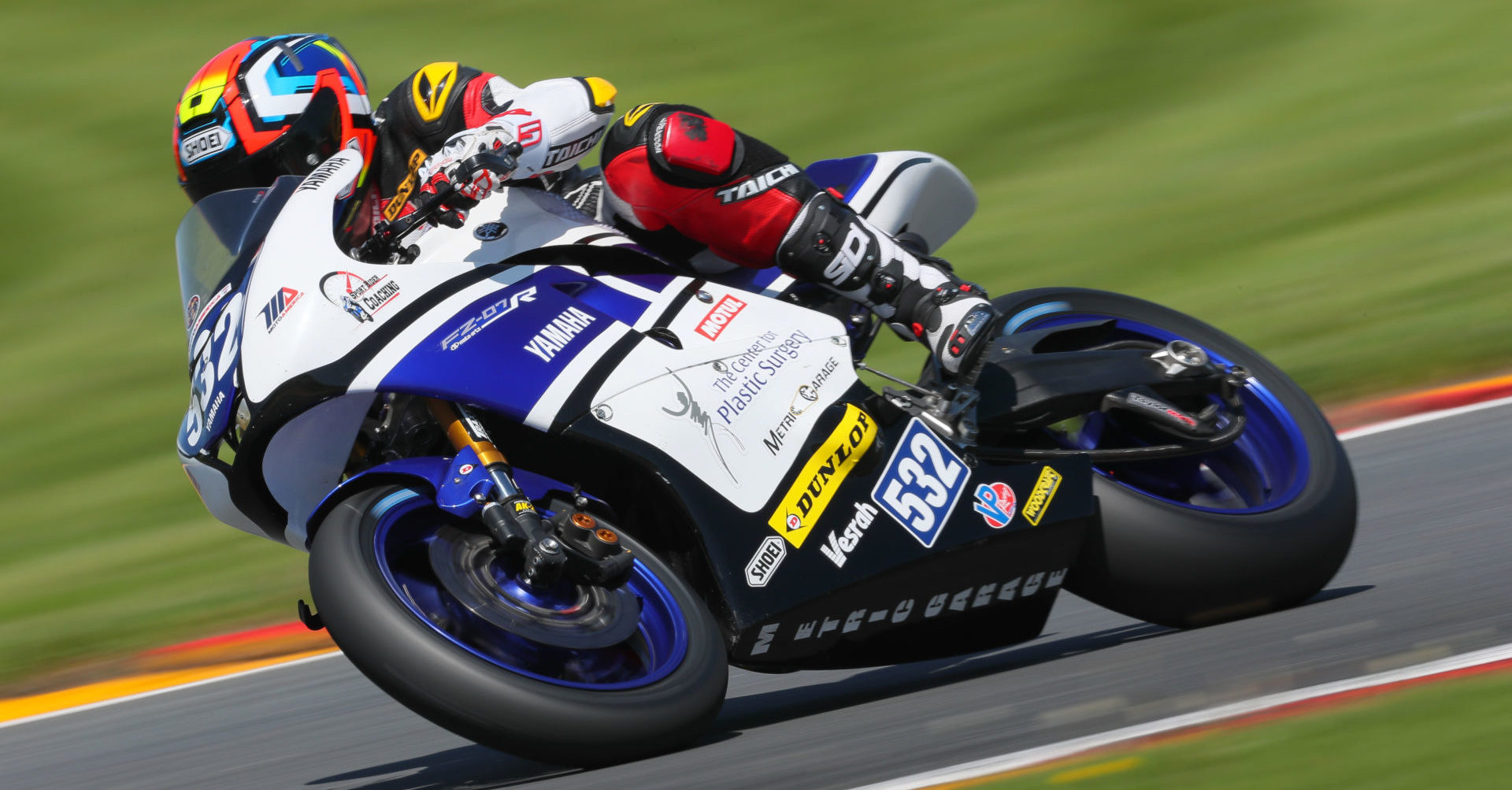 Dr. Carl Price (532) in action during the 2019 MotoAmerica Twins Cup finale at Barber Motorsports Park. Photo by Brian J. Nelson, courtesy of Robem Engineering.