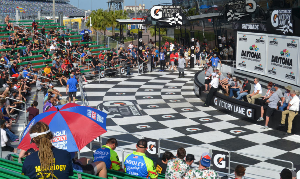 A scene from the ASRA/CCS rider's meeting in Gatorade Victory Lane Friday at Daytona International Speedway. Photo by David Swarts.