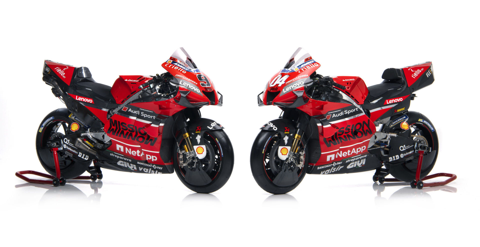 The Ducati Desmosedici GP20 MotoGP racebikes of Andrea Dovizioso and Danilo Petrucci. Photo courtesy of Ducati Corse.