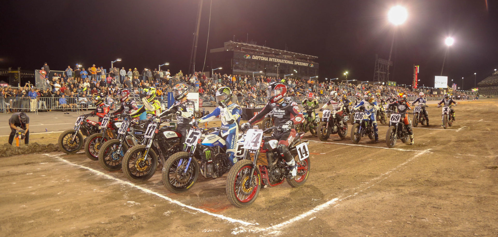 The starting grid for the AFT Twins race at the 2019 Daytona TT. Photo by Scott Hunter, courtesy of AFT.