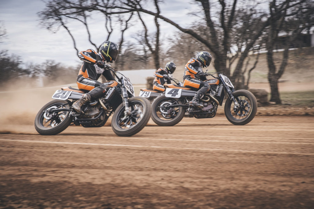 The Harley-Davidson Factory Flat Track Team: Jarod Vanderkooi (20), Bryan Smith (4), and Dalton Gauthier (79). Photo courtesy of Harley-Davidson.