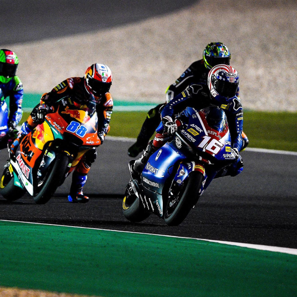 American Joe Roberts (16) fighting at the front during the Moto2 World Championship race at Losail International Circuit. Photo courtesy of American Racing Team.